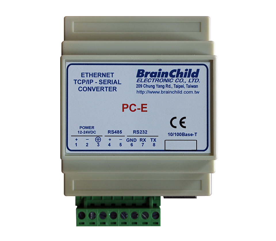 PC-E Serial to Ethernet Converters for RS232 or RS485 Signal
